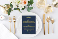 Wedding Menu // custom wedding // gold and navy // gold menu's // gold wedding
