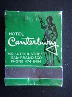 HOTEL CANTERBURY 750 SUTTER ST SAN FRANCISCO 4746464 LEHR'S GREENHOUSE MATCHBOOK