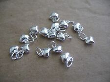 Silver-Filled Tiny Bracelet Charm 6.5x5mm Puffed Heart 4pcs