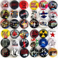 UK SUBS SHAM 69 COCKNEY REJECTS STIFF LITTLE FINGERS Punk Rock Button Badges Set