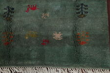 Excellent Hand-Knotted Tribal Oriental Green Gabbeh Area Rug Wool Carpet 4'x6'
