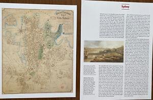 Old Antique vintage historical map & View 1800s: Sydney, Australia Reprint 1854c