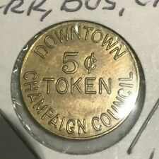 Champaign Illinois IL Downtown Council Park Bus Cab 5 Cents Transportation Token