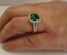925 STERLING SILVER RING W/ 6 CT EMERALD & ACCENTS/SIZE 5 - 9 AVAILABLE/STUNNING