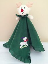 Blankets and Beyond Rudolph Reindeer Security Baby Lovey Green