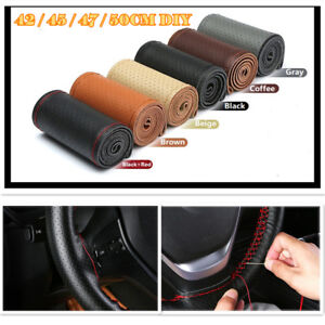 42/45/47/50cm DIY Genuine Leather Car Steering Wheel Cover With Needles Thread