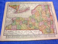 ANTIQUE MAP OF NEW YORK W/ RAILROADS, STATIONS, CHUBBS DOCK & MORE COLOFUL DATED