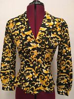 VTG 100% Polyester 70's Black & Yellow Button Down Back Tie Dress Shirt WPL10360