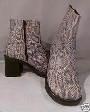 STEVE MADDEN Gray LEATHER SNAKE SKIN Side Zipper Ankle Boot Size 6