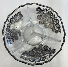 CAMBRIDGE GLASS SILVER CITY FLANDERS SILVER OVERLAY 3 PART DIVIDED DISH
