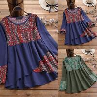 ZANZEA Women's Long Sleeve Check Dot Shirt Tops Asymmetrical Hem Ethnic Blouse