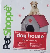 Pet Shoppe Red Dog House with Toy - Foldable Soft Padded Fabric-For Home /Travel