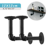 2 Pack Industrial Wall Mounted Iron Pipe Shelf Bracket Floating Shelf Holder US