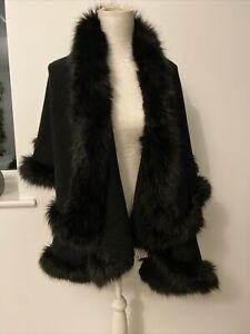 Principles One Size Fur Lined Black Cape