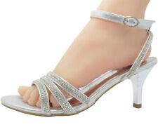 Womens Ladies Low Heel Diamante Bridal Wedding Sandals Strappy Party Shoe F-439N