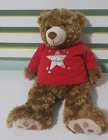 MYER BEAR MYER TEDDY BEAR HUDSON CHRISTMAS BEAR RED SHIRT WITH STAR 2015 40CM