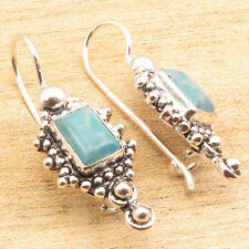 Simulated LARIMAR Earrings Gem Silver Plated Over Solid Copper Jewelry 3 cm