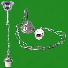 2x Métal Plafond Rose & Chaîne Pendante Chandelier Support Lampe E27 Fixation