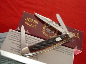 "John Primble Finest Steel USA 3-1/2"" Bone 3 Blade Stockman Stock Knife UNUSED!"