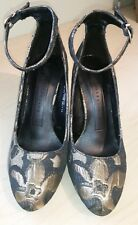 M&S BLOCK HEEL ANKLE STRAP LADIES GOLD COURT SHOES UK 4/EUR 37 BNWT