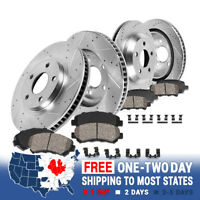 FRONT + REAR Drilled Slotted SPORT Brake Rotors + Quiet Ceramic Pads For