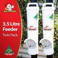 DINE-A-CHOOK Chicken Feeder Twin Pack / Chook / Poultry Coop  - Two Feeders