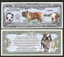 Lot of 25 Bills - Bulldog Million Dollar Dog Puppy & Adult Pics, Facts on Back