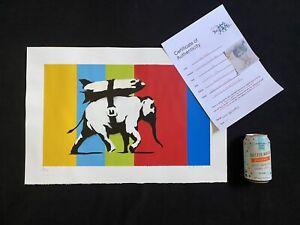 Banksy-Heavy Weaponry- Spray paint Original Signed 15x24 Inches-COA-Not Banksy