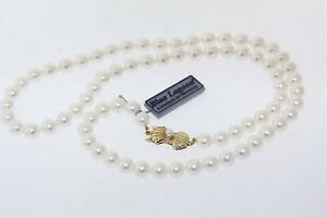 MIKIMOTO Blue Lagoon 6.5-7.0mm Akoya Pearl Necklace 21 Inch 14k Gold Clasp