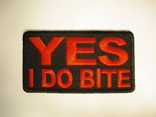 Yes I do Bite Patch Sew/Iron - Vampire Lady rider biker mens Shed Motorcycle