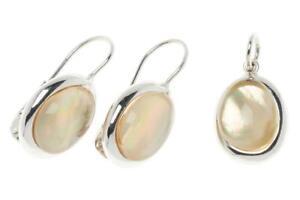 Italian 18k solid gold white hydrothermal Quartz pendant & earrings set 7.5g