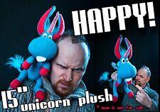 Happy Unicorn Plush handmade toy , 15 in high, Happy! Syfy inspired doll