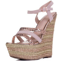 Womens Platform Wedge Heel Sandal Strappy Shoes