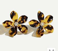 Details! Sold Out! New$39.50 Tortoise J.Crew Acetate Flower Earrings With PavÉ