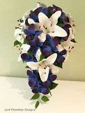 Wedding Bouquet Set - White Lilly Purple Blue Orchids Bridal Teardrop Posy Maids