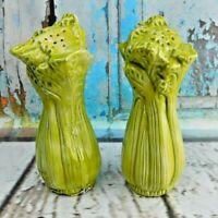 Vintage Celery Stalk Bunches Salt Pepper Shakers Porcelain/Ceramic