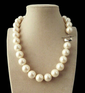 AA Rare Huge 14mm Genuine White South Sea Shell Pearl Round Beads Necklace 18''