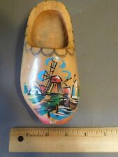 Vintage Hand Painted Holland Windmill Souvenir Wooden Clog Shoe Wall Hanging