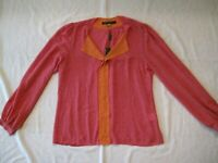 Rose + Olive Women's Top Blouse Shirt Long Sleeves Pink Orange Size L New