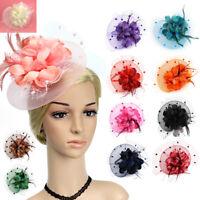 Lady Flower Mesh Fascinator Feather Headband Party Headwear Cocktail Headpiece