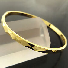 FSA289 GENUINE REAL 18K YELLOW GF GOLD CLASSIC HINGED SOLID CUFF BANGLE BRACELET