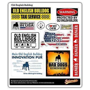 Auto Aufkleber Sticker OLD ENGLISH BULLDOG COLLECTION OEB warning  SIVIWONDER