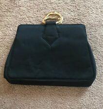 Vintage Satin Clutch Coronet Snap Closure Gold Tone Accents Handbag Purse