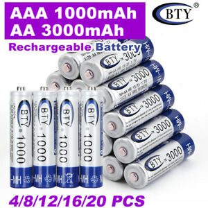 Rechargeable Battery NI-MH 1.2V 3000mAh AA/1000mAh AAA Recharge Batteries 4-20x