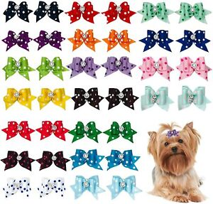 10pcs Dog Hair Bows w/ Rubber Band w/Rhinestone Pet Grooming Products for Yorkie