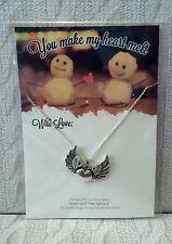 """Handmade Heart & Wings LOVE COLLANA 22 """"SILVER PL CATENA E CARD * 2in1 REGALO"""
