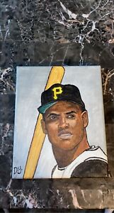 Roberto Clemente Hand Painted Acrylic 9x12 Pittsburgh Pirates Genuine 1 of 1.