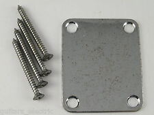 Gotoh Factory Aged CHROME NECK PLATE & SCREWS for 1960's Telecaster Stratocaster