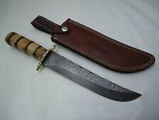 """Pioneer Damascus Steel Hunting Knive,With Brass Guard 12""""Pt-650"""