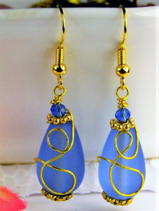 SEA GLASS Teardrop Cobalt Blue Loop Swirl GOLD Dangle Earrings USA HANDMADE